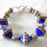 SALE - LAZULI DIAMOND GLASS LAMPWORK BRACELET  - FREE UK POSTAGE