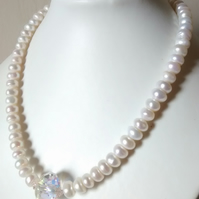 PEARL  AND  SWAROVSKI  NECKLACE - - FREE SHIPPING WORLDWIDE