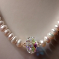 PEARL  AND  SWAROVSKI  NECKLACE - BRIDE - WEDDING - FREE SHIPPING WORLDWIDE