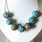 ANTIQUE GOLD AND TURQUOISE NECKLACE - FREE SHIPPING WORLDWIDE
