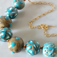 ANTIQUE GOLD AND TURQUOISE NECKLACE - POLYMER CLAY NECKLACE - FREE SHIPPING