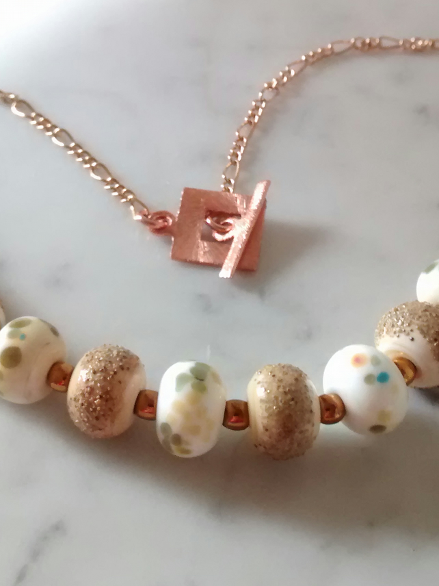LAMPWORK AND ROSE GOLD NECKLACE - - FREE SHIPPING WORLWIDE