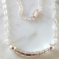 WRAPPED BEAD STERLING SILVER NECKLACE - FREE SHIPPING WORLDWIDE