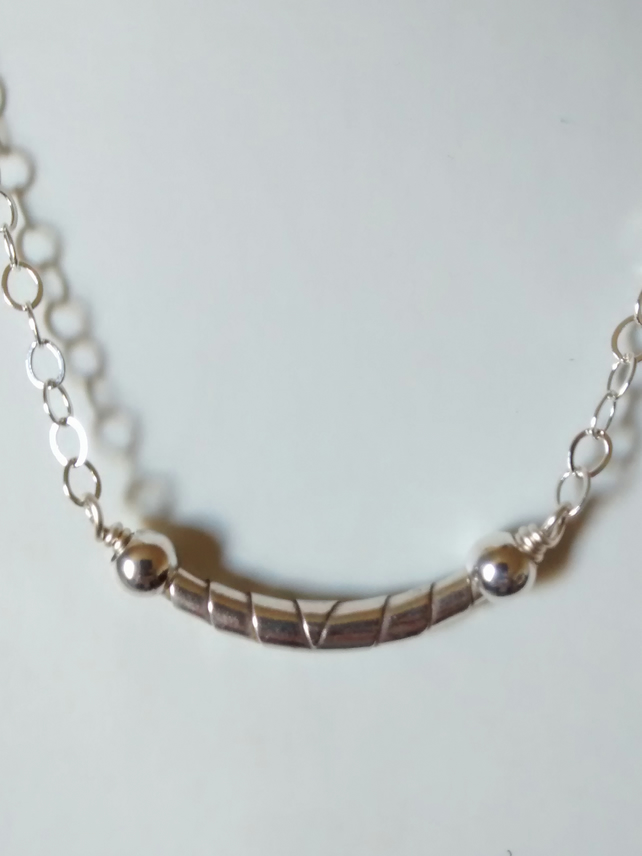 WRAPPED BEAD STERLING SILVER NECKLACE - SILVER NECKLACE- -  FREE UK SHIPPING
