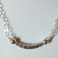 WRAPPED BEAD STERLING SILVER NECKLACE - SILVER NECKLACE  FREE SHIPPING WORLDWIDE