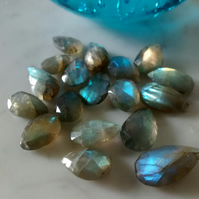 LABRADORITE PEAR DROPS - FREE SHIPPING WORLDWIDE