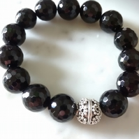 BLACK AGATE AND BALI BEAD BRACELET - FREE SHIPPING WORLDWIDE