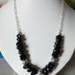 BLACK SPINEL NUGGET AND SILVER NECKLACE - FREE SHIPPING WORLDWIDE