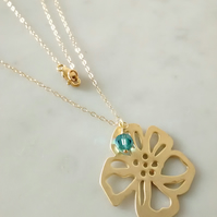 GOLD AND SWAROVSKI  NECKLACE - FLOWER GOLD NECKLACE - MOTHER - FREE POST