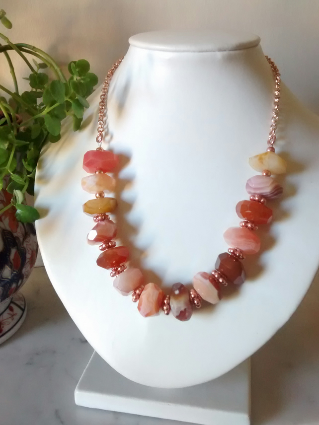 ORANGE CHALCEDONY AND ROSE GOLD NECKLACE - NUGGETS -  FREE UK  SHIPPING