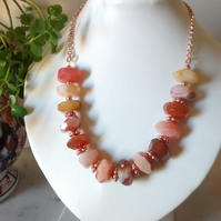 ORANGE CHALCEDONY AND ROSE GOLD NECKLACE - FREE SHIPPING WORLDWIDE