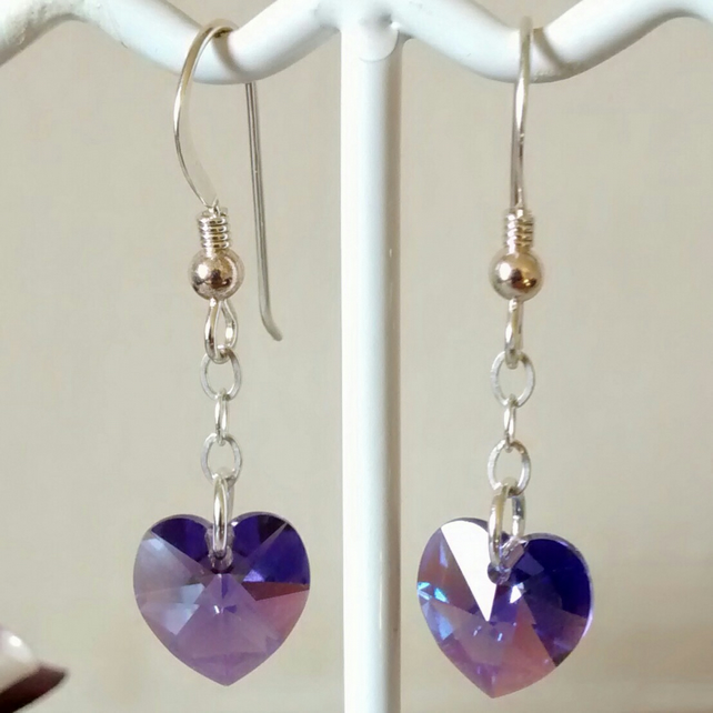 HEART SWAROVSKI CRYSTAL STERLING SILVER EARRINGS - FREE UK SHIPPING