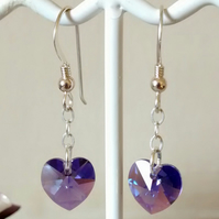 HEART SWAROVSKI CRYSTAL STERLING SILVER EARRINGS - VALENTINE'S DAY GIFT