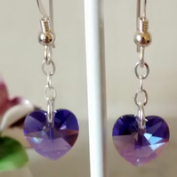 HEART SWAROVSKI CRYSTAL STERLING SILVER EARRINGS - FREE SHIPPING WORLDWIDE