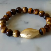 YELLOW TIGERS EYE STRETCHY BRACELET - CHRISTMAS GIFT -  FREE SHIPPING