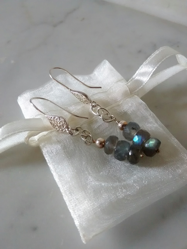 LABRADORITE AND SILVER EARRINGS -  CHRISTMAS GIFT -  FREE SHIPPING WORLDWIDE