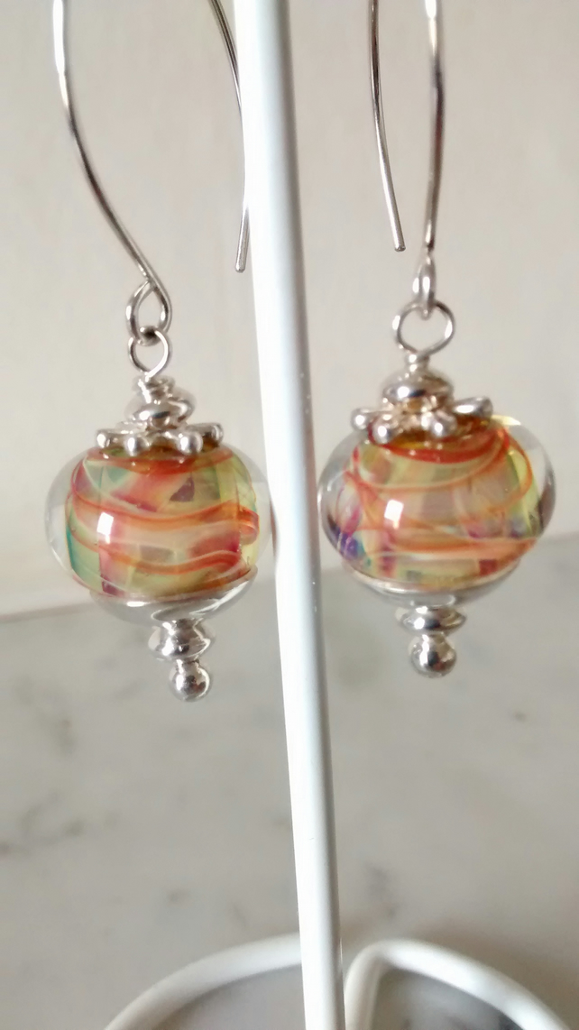 TARTAN LOOK LAMPWORK EARRINGS - LAMPWORK EARRINGS -  - FREE SHIPPING WORLDWIDE