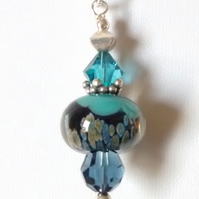 LAMPWORK  AND SWAROVSKI  PENDANT - FREE SHIPPING WORLDWIDE