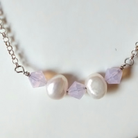PEARL  AND PINK OPAL NECKLACE - - FREE SHIPPING WORKDWDE