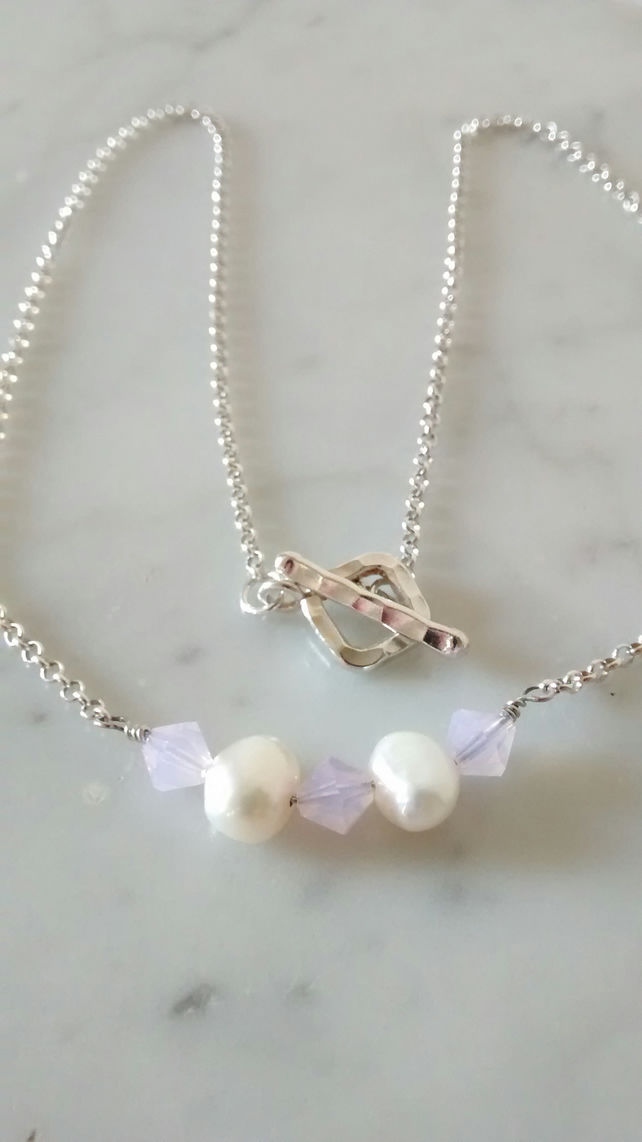 PEARL  AND PINK OPAL NECKLACE - - BRIDE - WEDDING - FREE SHIPPING