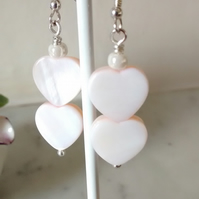 PINK  SHELL EARRINGS-  HEART EARRINGS - VALENTINE FOR HER -   FREE UK SHIPPING