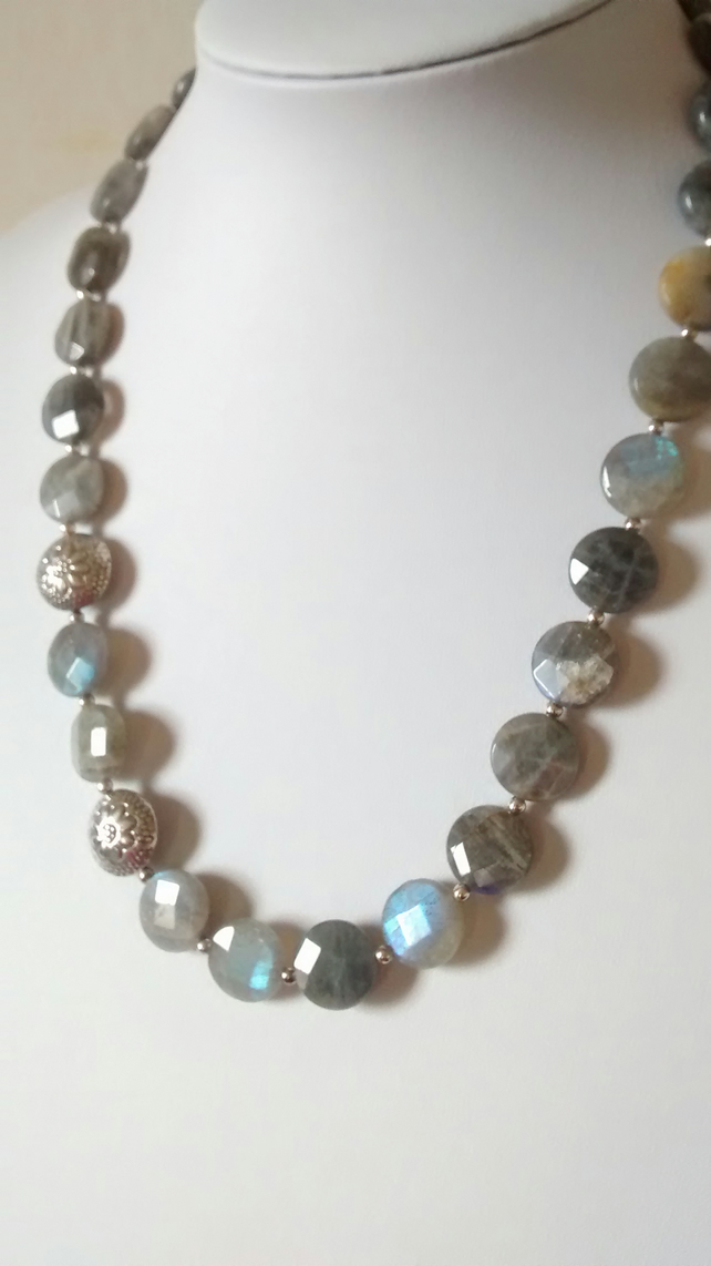 Labradorite and Silver Necklace - - Free Shipping Worldwide