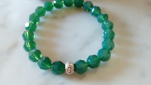 Green Opal Swarovski Crystal Bracelet - Stackable - FREE SHIPPING WORLDWIDE