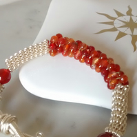 CARNELIAN AND SILVER BRACELET - COIL WIRE BRACELET - FREE UK SHIPPING