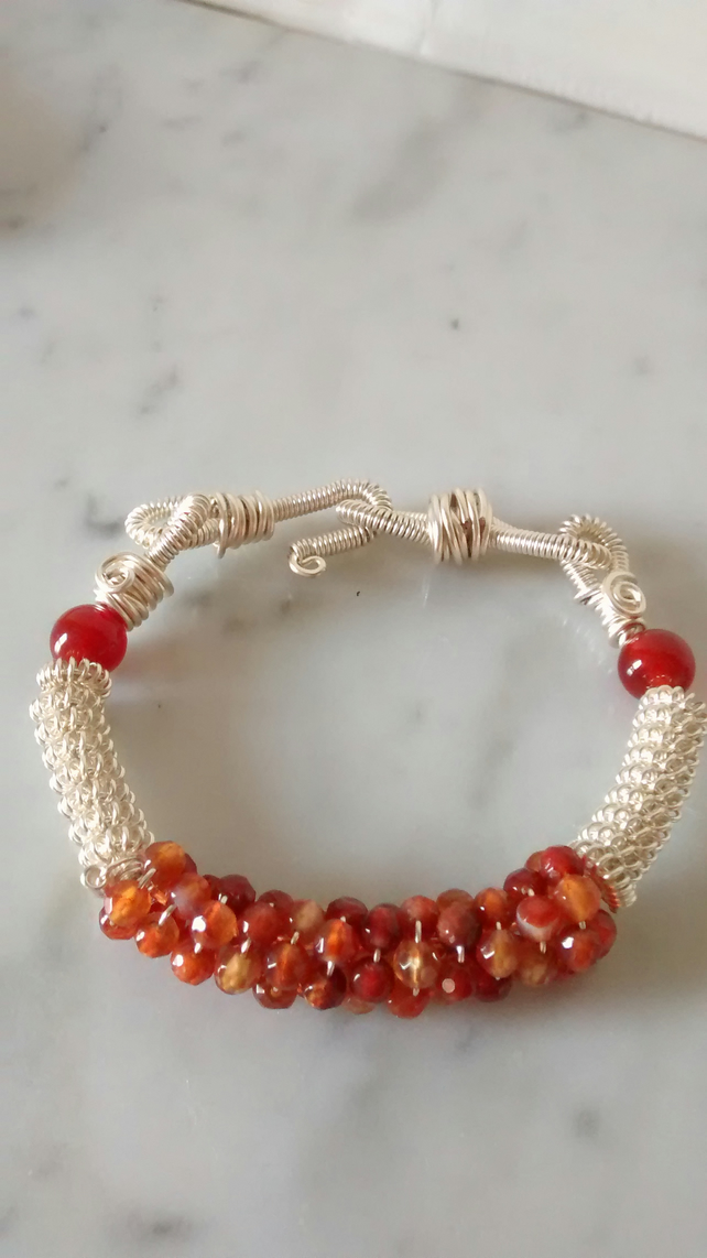 CARNELIAN AND SILVER BRACELET - COIL WIRE BRACELET - FREE SHIPPING WORLD WIDE