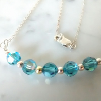 INDICOLITE SWAROVSKI CRYSTAL AB NECKLACE - - FREE UK SHIPPING