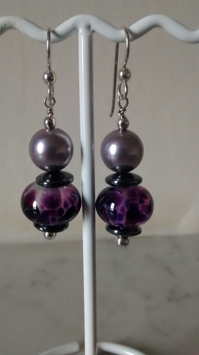 PURPLE AND GRAPE EARRINGS - - LAMPWORK EARRINGS - -FREE SHIPPING