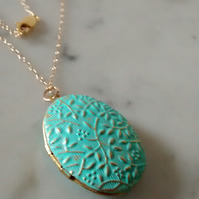 VERDIGRIS PATINA FLORAL BRASS LOCKET - VALENTINE FOR HER -  FREE SHIPPING