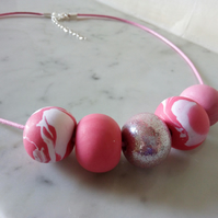 PINK AND GLITTER POLYMER CLAY NECKLACE - HOLIDAY JEWELLERY -  FREE SHIPPING