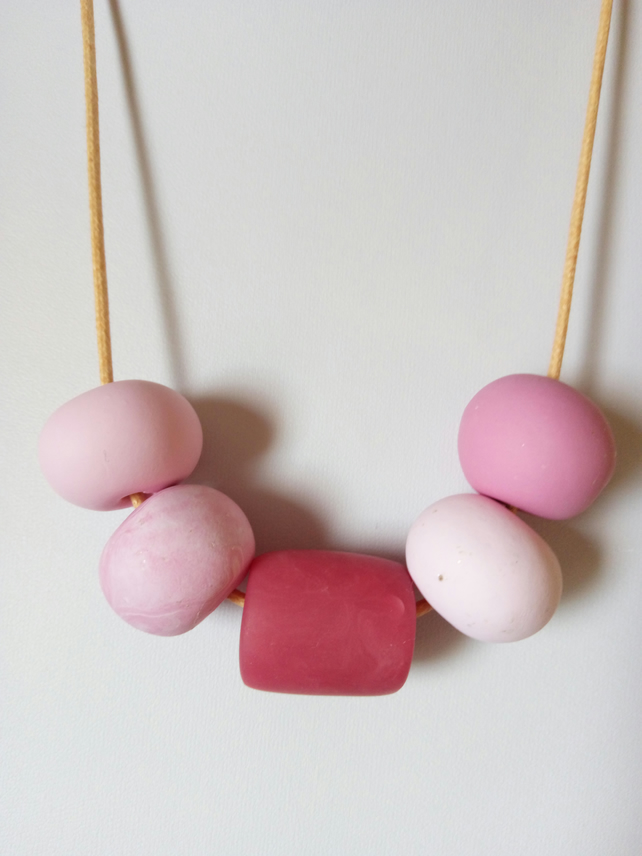 PINK CHUNKY POLYMER CLAY NECKLACE - HOLIDAY JEWELLERY -  FREE SHIPPING WORLDWIDE
