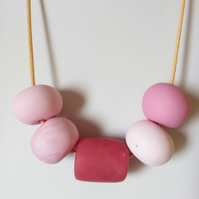 PINK CHUNKY POLYMER CLAY NECKLACE - HOLIDAY JEWELLERY -  FREE SHIPPING
