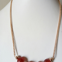 RED AGATE CARVED ROSE  FLOWER NECKLACE - FREE SHIPPING WORLDWIDE