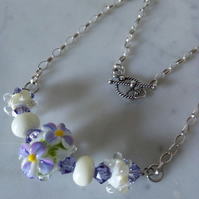 SALE - SPRING FLOWERS LAMPWORK NECKLACE - - FREE SHIPPING WORLWIDE