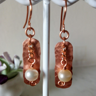 COPPER AND PEARL EARRINGS - DANGLE - BRIDE - WEDDING - FREE UK SHIPPING