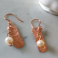 COPPER AND PEARL EARRINGS - DANGLE - BRIDE - WEDDING - FREE SHIPPING WORLDWIDE