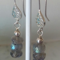 LABRADORITE AND SILVER EARRINGS  -  FREE SHIPPING WORLDWIDE