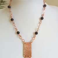 COPPER AND ONYX NECKLACE - FREE SHIPPING WORLDWIDE