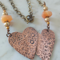 COPPER OXIDIZED HEARTS NECKLACE -HAMMERED -MIXED METAL - FREE SHIPPING WORLWIDE