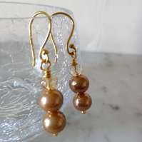 GOLD PEARL  AND CHAMPAGNE EARRINGS - - FREE SHIPPING