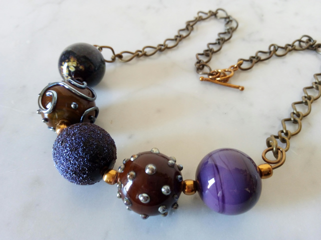 LAMPWORK NECKLACE -  - FREE SHIPPING WORLDWIDE