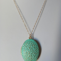 VERDIGRIS PATINA FLORAL BRASS LOCKET - VALENTINE -   FREE UK SHIPPING