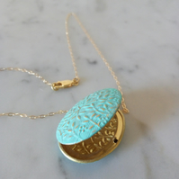 VERDIGRIS PATINA FLORAL BRASS LOCKET - GOLD CHAIN -   FREE UK SHIPPING