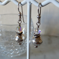 SWAROVSKI AND SILVER EARRINGS - DANGLE -WEDDING -  BRIDE - FREE UK SHIPPING