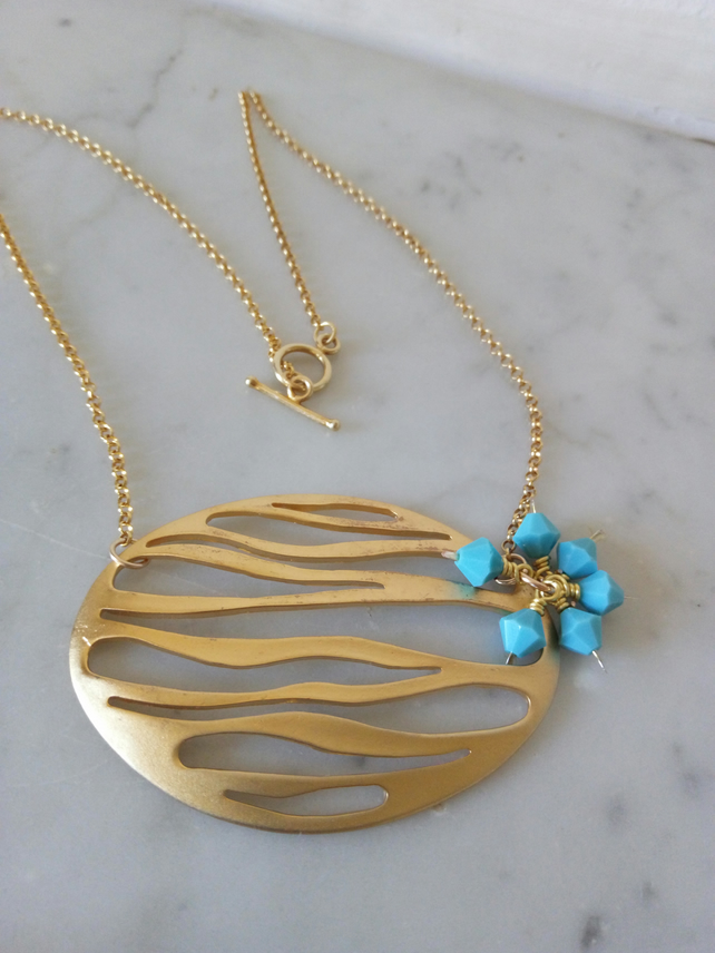 OVAL RIPPLE NECKLACE - TURQUOISE NECKLACE - FREE SHIPPING WORLDWIDE