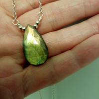 LABRADORITE PEAR  DROP AND SILVER NECKLACE  - -FREE SHIPPING WORLDWIDE