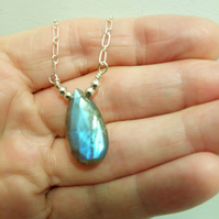 LABRADORITE DROP NECKLACE - -  PEAR NECKLACE - FREE SHIPPING WORLDWIDE